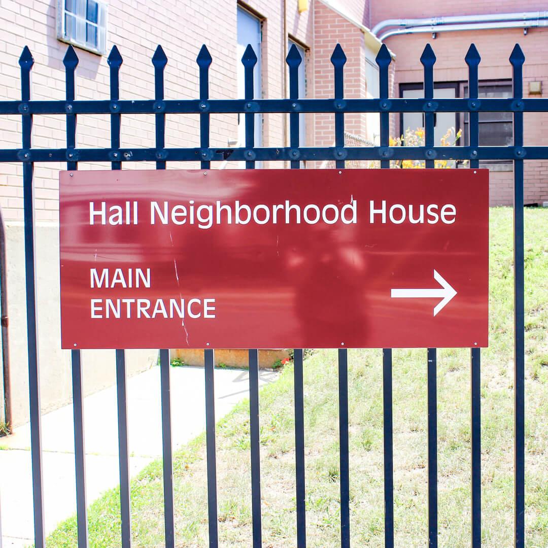 Hall Neighborhood House sign